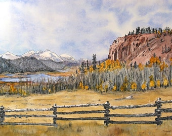 """Mountains, lake and fence in Colorado. Mountain Lake 1. A functional  GLASS TRIVET - 8"""" x 11"""" .  Free U.S. shipping."""