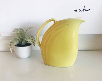 Vintage Tall Yellow Pitcher Hall Quality Kitchenware, Yellow Vintage Picture, Serving, Drinkware, Kitchen, Dining