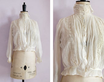 RESERVED ON LAYAWAY Antique 1900 1910 Victorian Edwardian white cotton muslin mesh sheer lace blouse - Antique blouse - 1900 lace cotton top