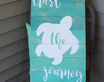 sea turtle sign, trust the journey, reclaimed wood sea turtle sign, beach wall art, sea turtle wall decor, sea turtle beach wood, coastal