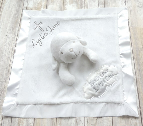 Personalized baby gift baptism gift christening gift lamb personalized baby gift baptism gift christening gift lamb lovey security blanket new baby gift baby shower gift keepsake lullaby negle Gallery