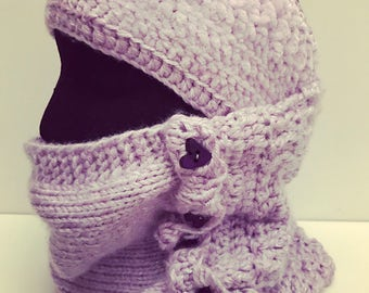 Cowl and headband purple winter set two pieces