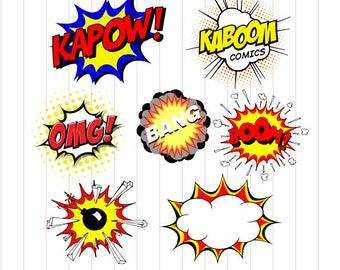 INSTANT DOWNLOAD - Superhero Svg File, Superhero Burts Clipart Svg, Superhero Clipart, Super hero Comic Speech Bubble Clipart, Comic Clipart