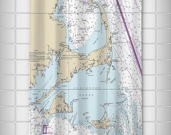 MA: Cape Cod, Martha's Vineyard, Nantucket, MA Nautical Chart Shower Curtain