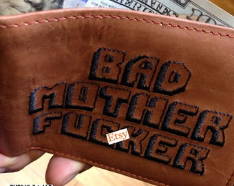 Le BMF Original® Bad Mother F * cker marron portefeuille en cuir 100 % véritable de qualité