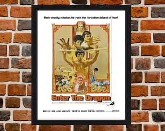 Framed Enter the Dragon Bruce Lee Action Movie / Film Poster A3 Size Mounted In Black Or White Frame (Version -2)