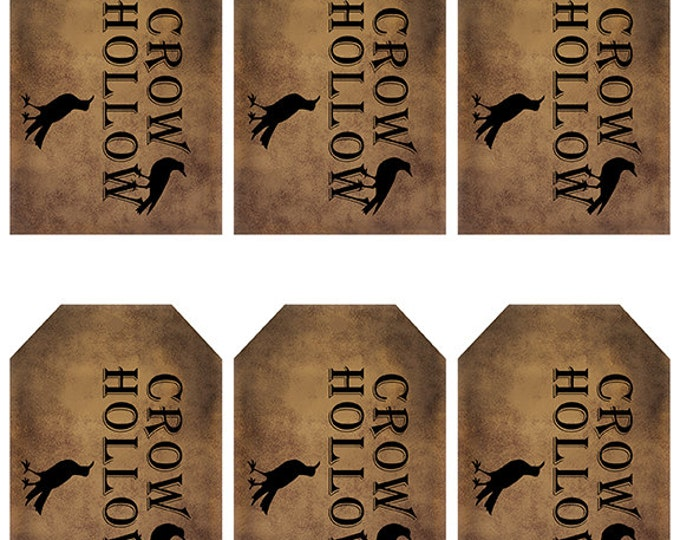 Featured listing image: grungy tag set, primitive tags, craft supplies, scrapbooking  - crow hollow with crows - digital PDF & jpeg - CHGT02