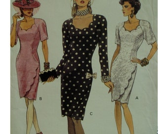 """Scallop Neckline Dress Pattern, Fitted, Straight, Scallop Hem and Side, Long/Short Sleeves, Vogue No.8545 UNCUT Size 16 (Bust 38"""" 97cm)"""