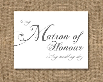 To My Matron of Honour on My Wedding Day - Wedding Card