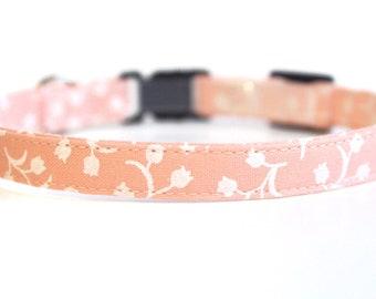 Pink Cat Collar Floral | Breakaway Cat Collar | Handmade | Adjustable | Small Dog Collar | Pet Collar | Safety Cat Collar |Floral Dog Collar
