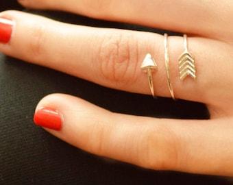 Gold Arrow double spiral ring, silver arrow double spiral arrow ring, Adjustable arrow ring, gold spiral arrow ring, arrow Symbol card avail