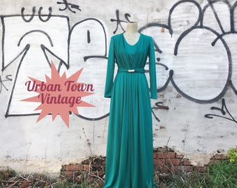 Vintage Emerald Green Floor Length Maxi Evening Gown Dress (Size Small)