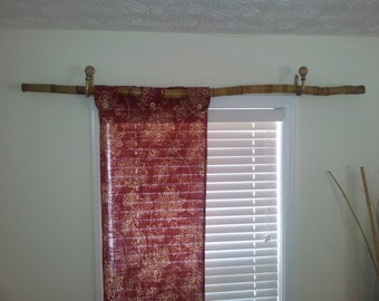 Curtain Rod Bamboo Rustic Fire Stained