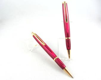 Handcrafted Classy Longwood Pen & Pencil Set Hot Pink Dymondwood