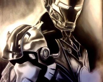 Iron Man Charcoal Artwork