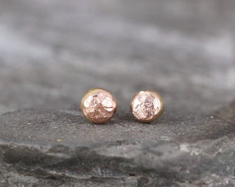 Pink Gold Nugget Earrings - Freeform Stud Earrings - 14K Pink Gold Nugget Earring - For Men or Women - Handmade Made in Canada