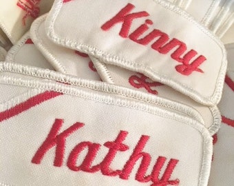 Vintage Uniform Name Patches   Red and White Over the Pocket Vintage Uniform Name Patches  Sew On or Iron on 1970s Patches