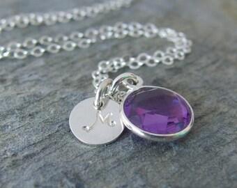 Amethyst necklace February birthstone Personalized Amethyst necklace February Birthday Gift Amethyst Jewelry Amehtyst birthstone necklace