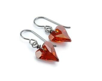 Red Heart Niobium Earrings, Wire Wrapped Niobium Earrings for Sensitive Ears, Magma Red Love Heart Hypoallergenic No Nickel Titanium Earring