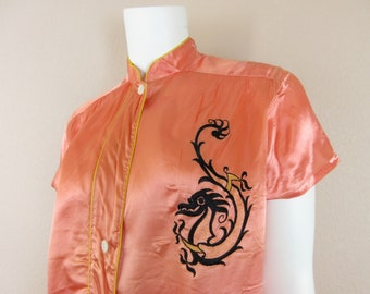 Vintage 1930s 1940s Pajamas / Silk Blend / Salmon Pink / Asian, Chinese, Japanese / Dragon / Embroidery, Embroidered / Two Piece