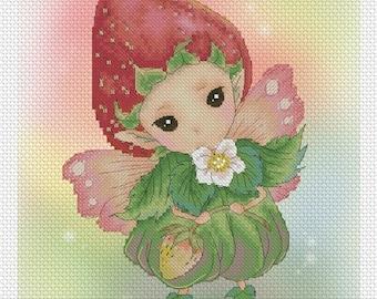 Cross stitch Chart Pattern Flower Sprites -  Strawberry Sprite