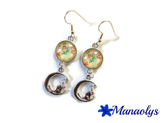 Cats on the Moon, Rhinestones, glass flower cabochons earrings