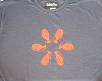 Big Mens GRENADE FLOWER tshirt  - Asphalt Gray Charcoal with orange bomb grenade tshirt Safety third 3x 3xl 4x 4xl 5x 5xl Big Man