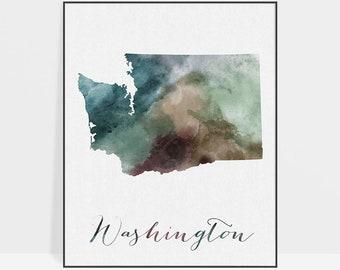 Washington map, print, poster, Washington travel map, Washington state, USA print, Wall art, travel poster, home decor, ArtPrintsVicky