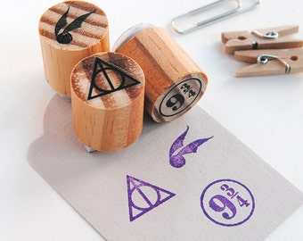 Harry Potter gift, triangle mini stamp, geeky birthday party, mini rubber stamp set, magic stamp set, deathly hallows stamp, geek birthday