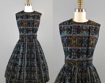 1950s Cotton Batik Sleeveless Dress / 50s Brown Blue Pleated Full Skirt Dress / Vintage Sun Dress