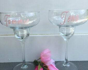 Margarita Glass, Monogrammed Glass, Vine Font, Vinyl Lettering, Vinyl Decal