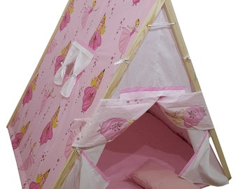 kids tent with mat floormat Kids tent Nursery decor kids Play tent Kids teepee tent Baby gifts Playhouse pine-wood cotton cinderella