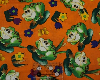 "Vintage Shamash and Sons Frogs  on orange fabric  100% cotton fabric 42"" - 44"" wide  Rare!"