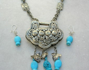 Contemporary Chinese Lock & Old Chain, Old Torque Neckpiece, Turquoise Beads, Unique Statement Necklace Set by SandraDesigns
