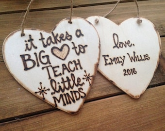 Teacher Gift Ornament Big Heart Little Minds Appreciation Thank You Gift End of Year Professor Personalized Holiday Christmas