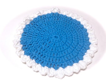 Hot Blue And White Crocheted Round Dish Cloth