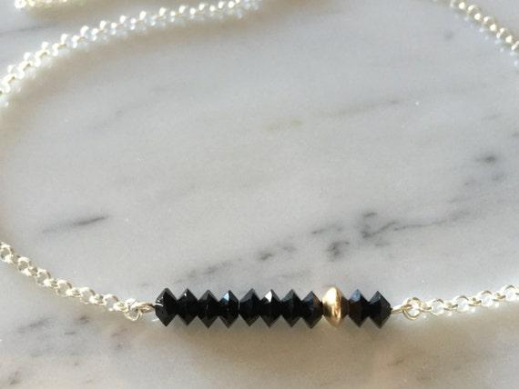 Jet Black Swarovski Crystal Bar Necklace, Sterling Silver