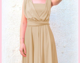 Infinity Dress  in light gold color  Bridesmaid  dress with matching tube top