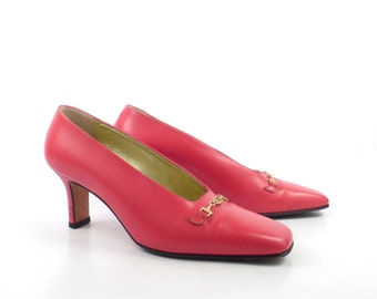 Escada Red Heels Vintage 1980s Shoes High Heel Leather Size 36