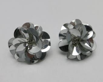 Silver sequin earrings PIERCED eighties DIsco
