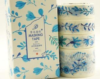 Azure - Japanese Washi Masking Tape Box Set - 4 rolls - 3.3 Yard(each roll)