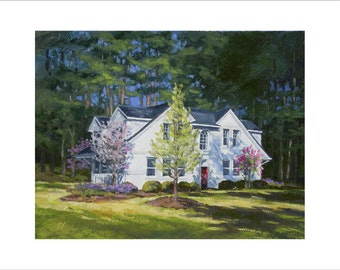Golf Art. Golf Gift. Pinehurst Gate House. Print of original oil painting.