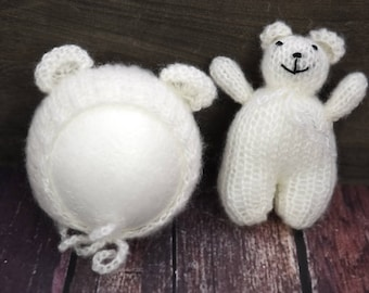 RTS, White teddy bear hat and pants set, animal hand knit soft mohair gender neutral newborn photography prop - ready to ship