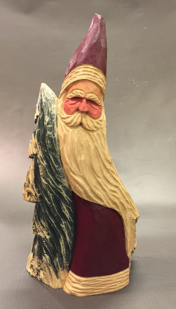 HAND CARVED original LARGE Santa and tree  from 100 year old Cottonwood Bark.