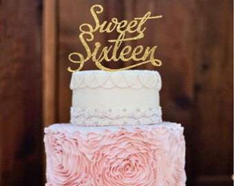 Cake Topper Sweet 16 Birthday Cake Topper Sweet Sixteen Cake