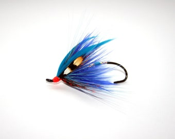 "Salmon Fly Pin- ""Blue Streamer"" Salmon Fly Brooch | Fly fishing jewelry | fishing jewelry"