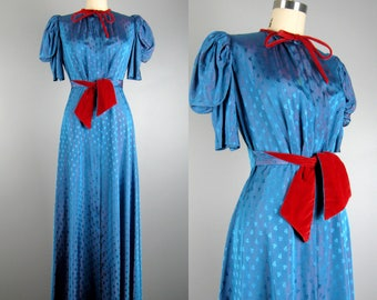 Vintage 1940s Dressing Gown 40s Royal Blue Taffeta and Red Velvet Gown with Shamrocks by Saybury Size M