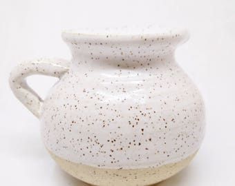 simple syrup jug, pottery juice jug, speckled white pitcher, modern simple flask, flecked sauce jug, ceramic water pitcher, stoneware jug