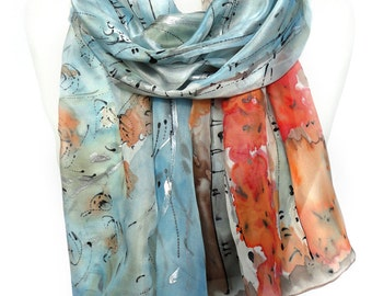 Blue Scarf. Forest Scarf. Floral Silk Scarf. Birch Trees Scarf. Hand Painted Silk Shawl. Anniversary Present. 18x71in. MADE to Order