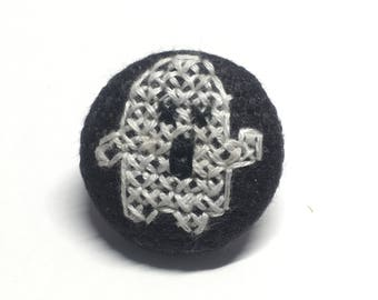 Ghost cross-stitched pin